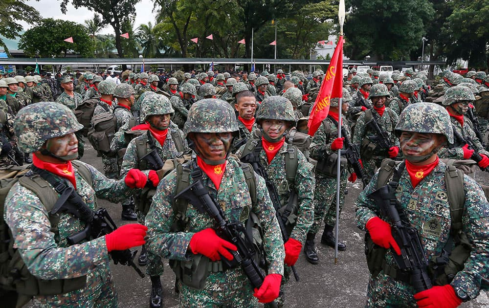 Philippine marines prepare for the change-of-command ceremony