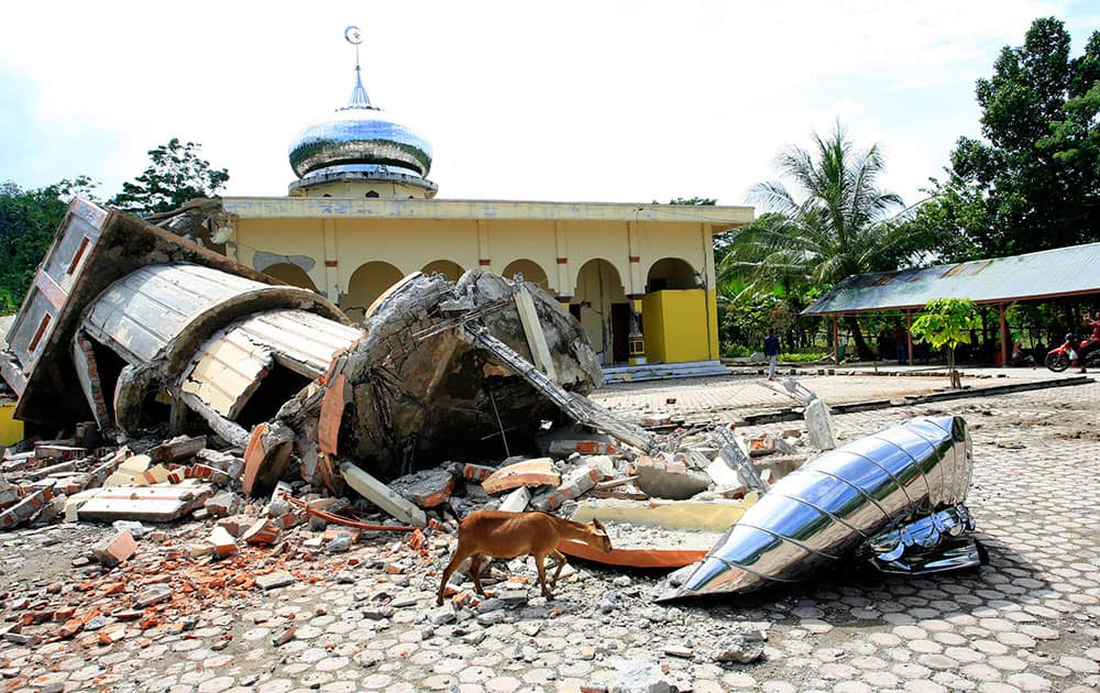 Houses of worship destroyed by the earthquake of 6.4 magnitude in Pidie, Aceh Province, Indonesia