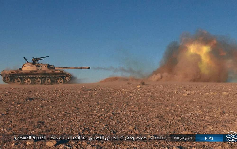 A tank operated by the group firing at Syrian troops