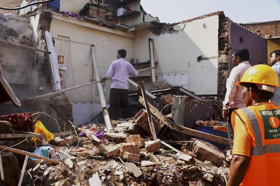 Debris of three single storeyed building in Mumbai