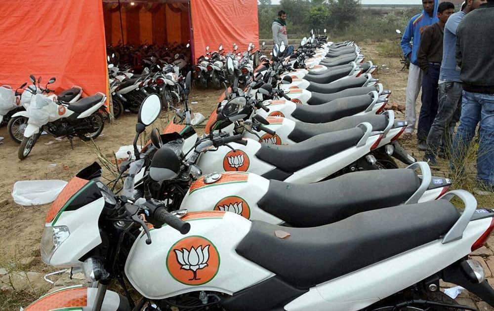 Motorcycles bearing BJP symbol