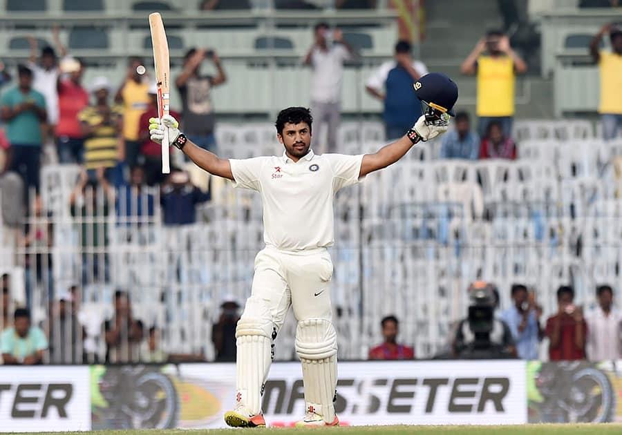 Karun Nair celebrates after scoring 300 runs