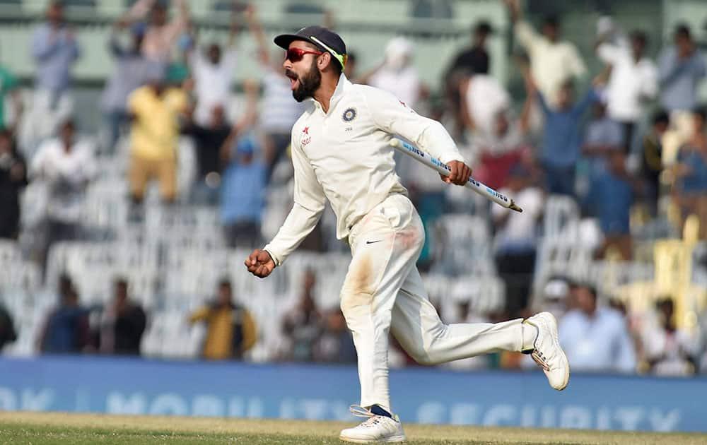 Virat Kohli celebrates after the test series win against England, at MAC Stadium, in Chennai
