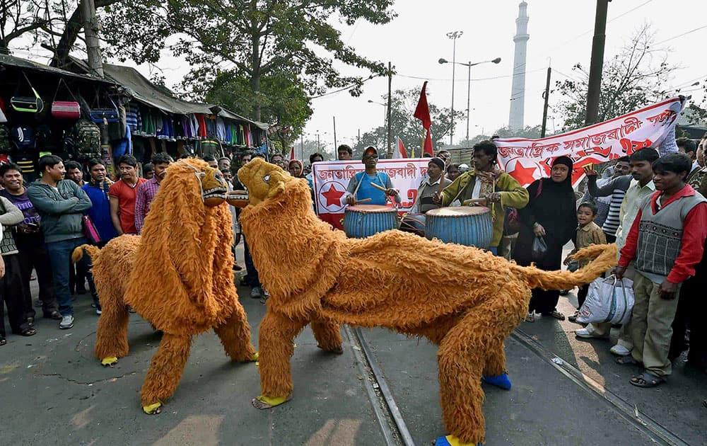 Chou dancers of Purulia perform at a rally