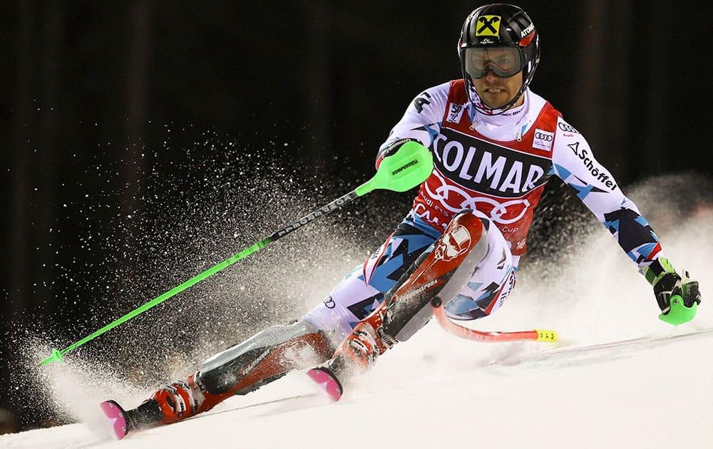 Austrias Marcel Hirscher competes during an alpine ski
