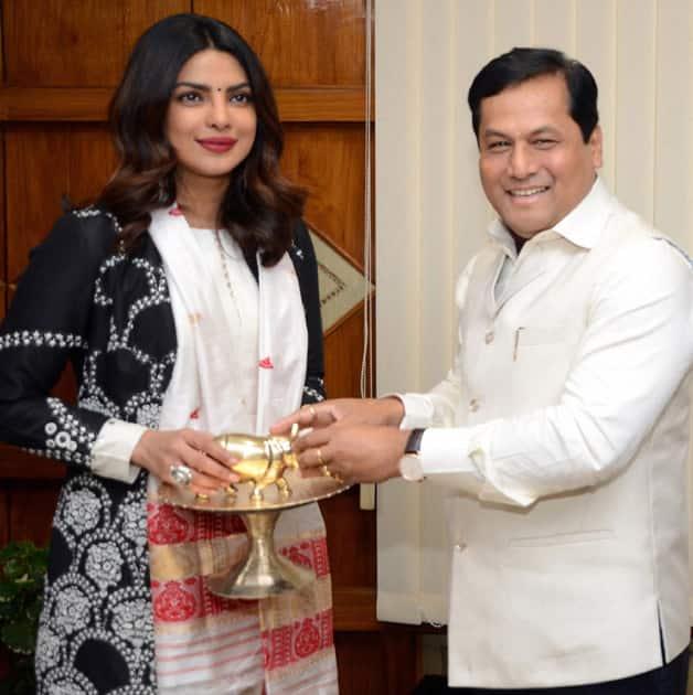 Sarbananda Sonowal with Priyanka Chopra