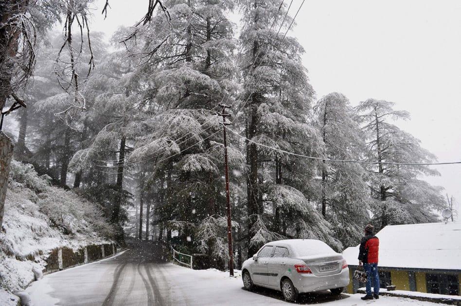 Season's first snowfall in Shimla