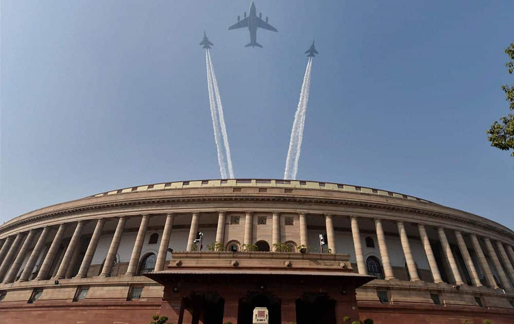 Indian Air Force's planes fly over the Parliament
