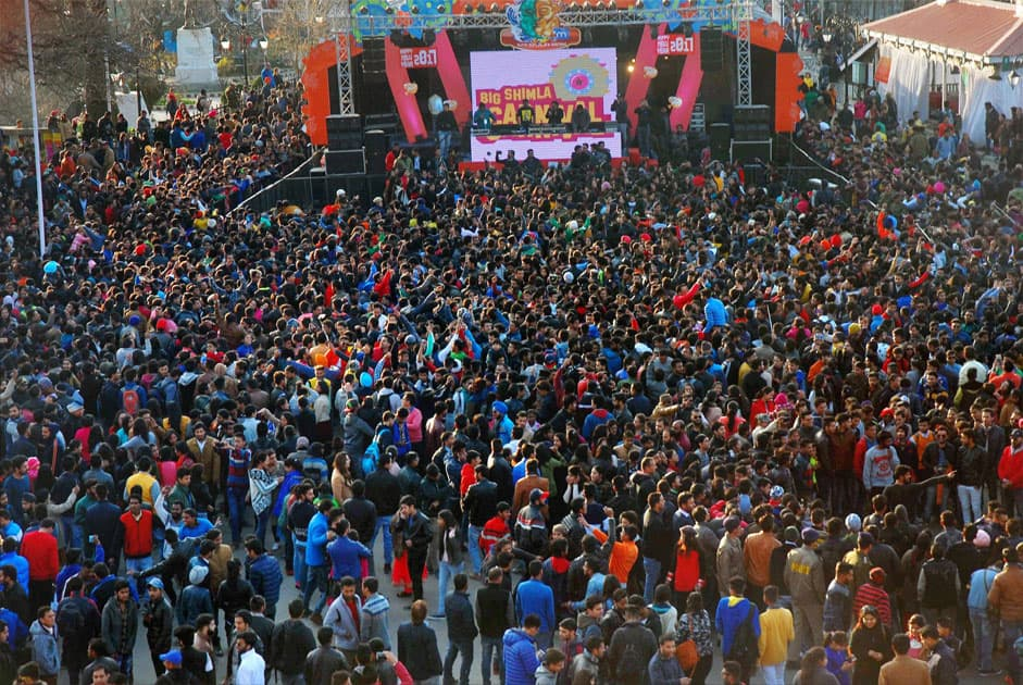 Tourists and locals celebrating New Year 2017 in Shimla