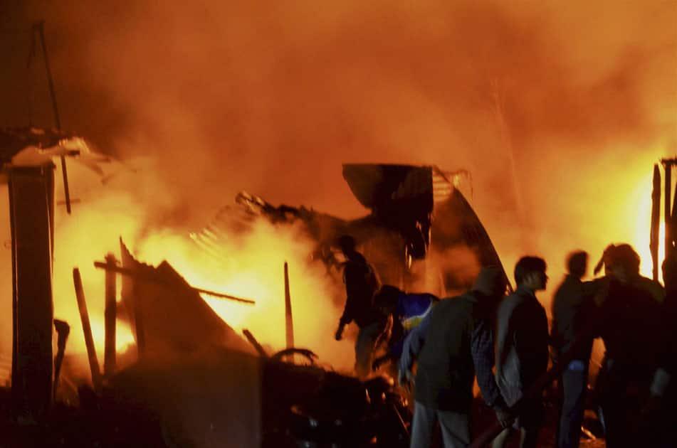 Fire at a market in Dharmanagar