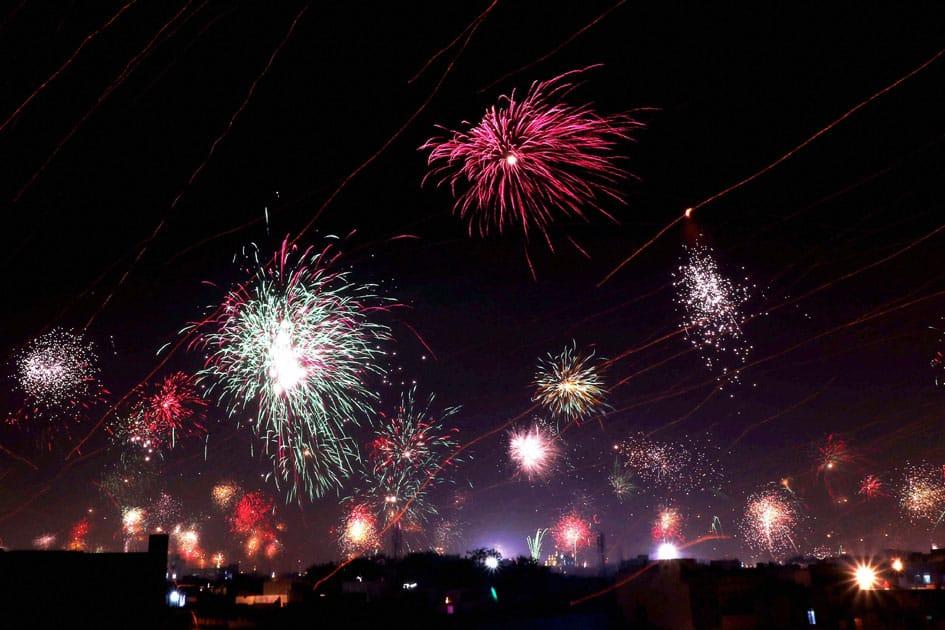 Fireworks light up the sky in Jaipur