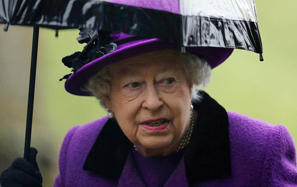 Queen Elizabeth II arrives to attend a church service at Flitcham church