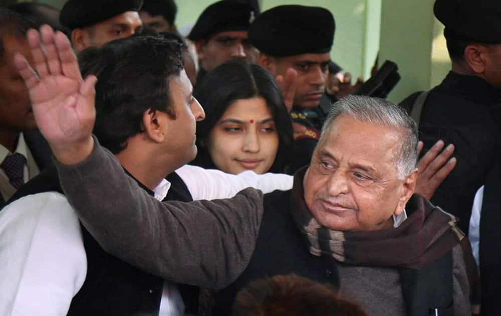 Akhilesh Yadav with Mulayam Singh Yadav