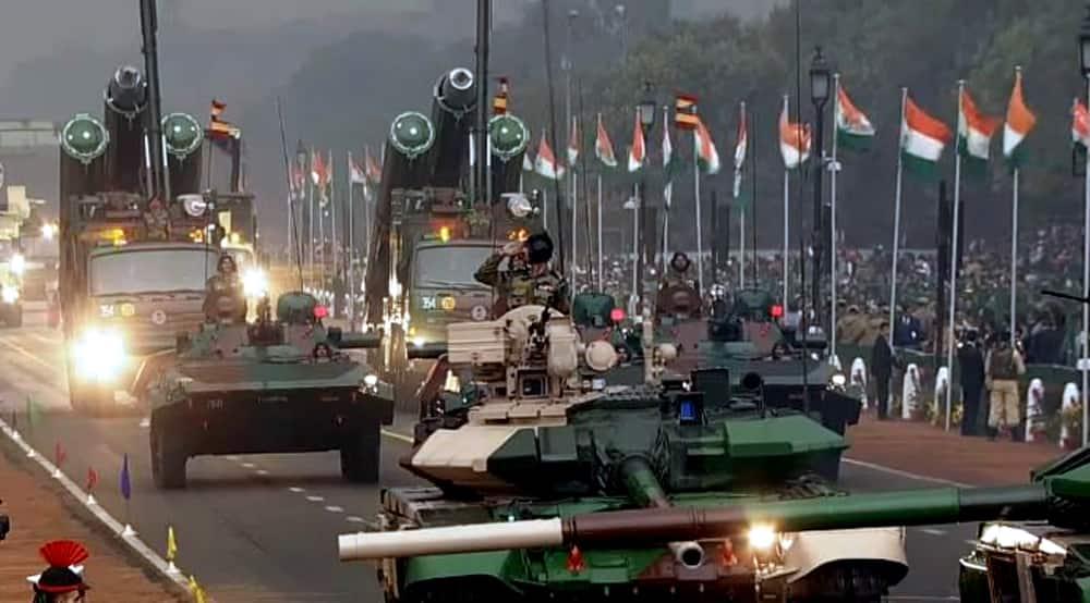 Republic Day parade underway at Rajpath.