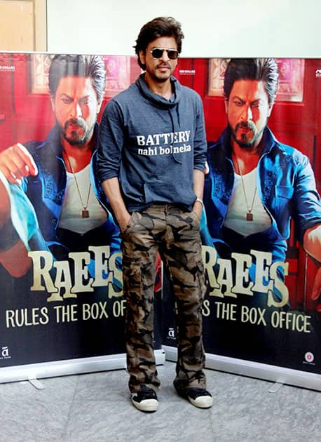 Shah Rukh Khan during a promotional event of film Raees