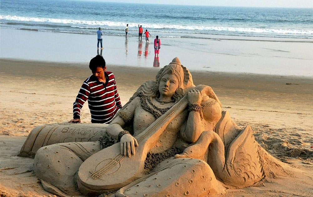 Sand art on Basant Panchami