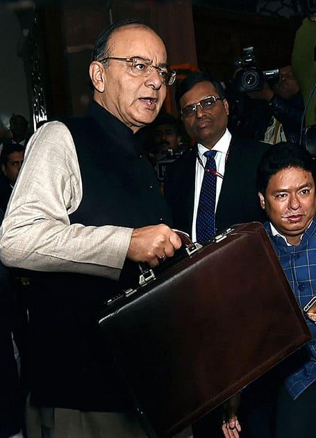 Finance Minister Arun Jaitley arrives at Parliament