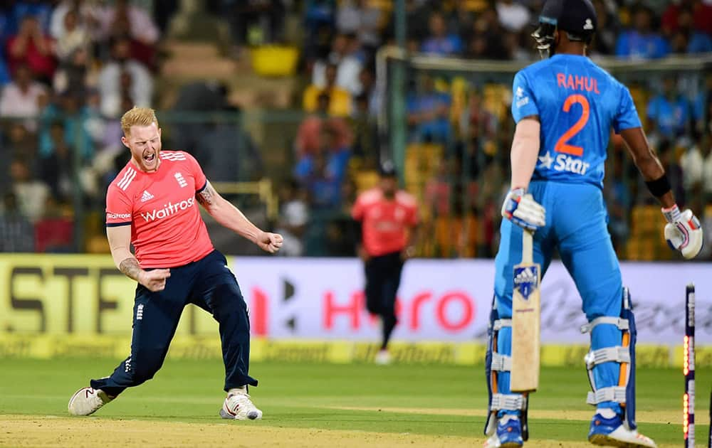 Ben Stokes celebrate the wicket of K L Rahul during the 3rd T20 at Chinnaswamy Stadium in Bengaluru