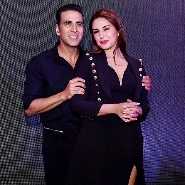 Akshay Kumar and Huma Qureshi pose for photographers