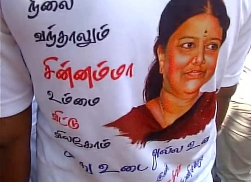VK Sasikala's supporters outside Poes Garden in Chennai