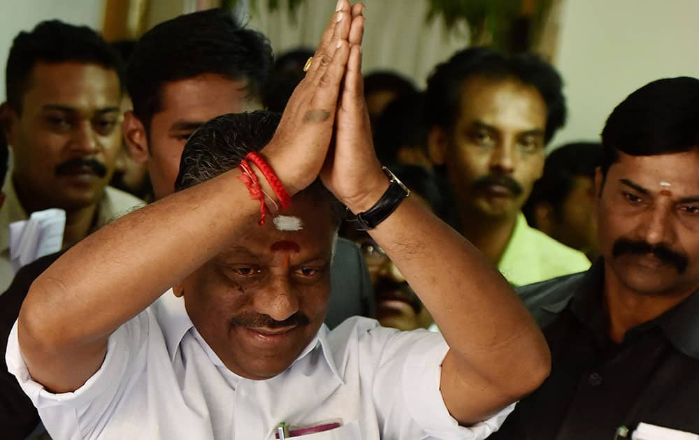 O Panneerselvam at his residence