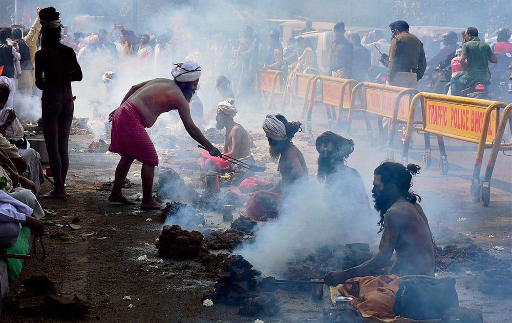 Naga sadhus during their demonstration against the Madhya Pradesh governments