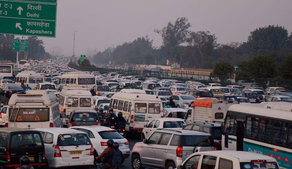 Heavy traffic jam at Delhi-Gurgaon Expressway