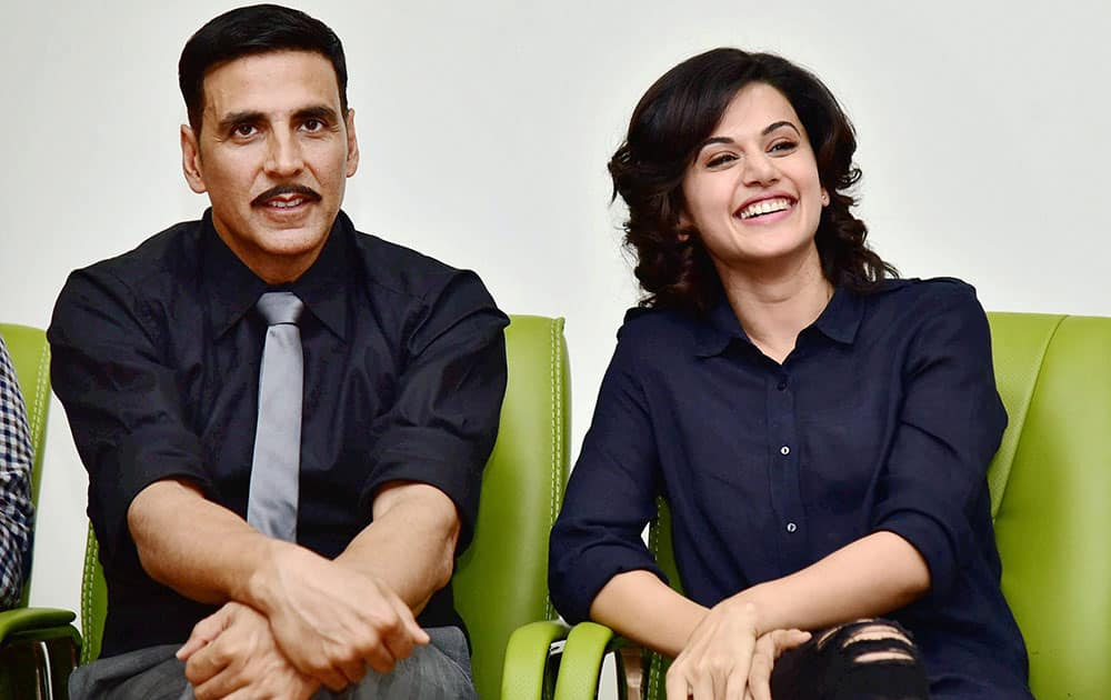 Akshay Kumar and Taapsee Pannu at J P Hospital  for the promotion of film