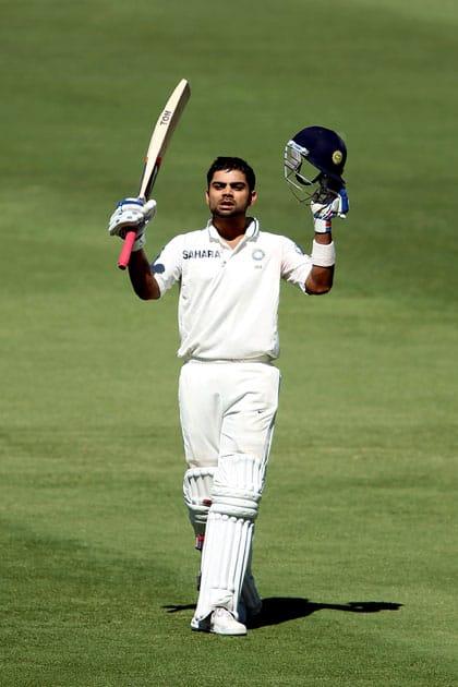Virat Kohli scored his first Test hundred