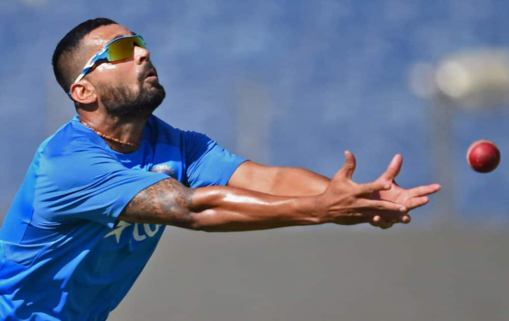 Murli Vijay during a practice session ahead of the first test match against Australia
