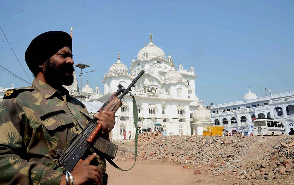 Tight security at out-side Takht Harmadir Sahib Gurudawara