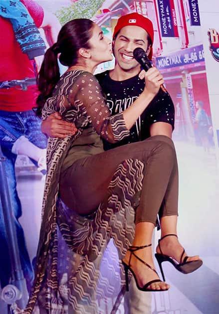 Alia Bhatt and Varun Dhawan during the promotion of  movie Badrinath Ki Dulhania