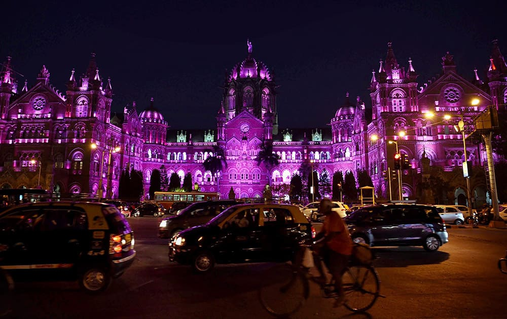 The Chatrapati Shivaji terminus lit up in pink on the eve of Womens Day