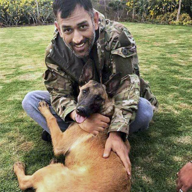 Dhoni at his residence in Ranchi