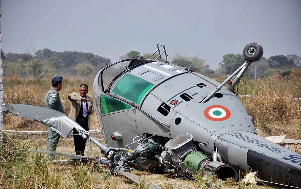 Rescue work in progress after Indian Air Force Chetak helicopter toppled