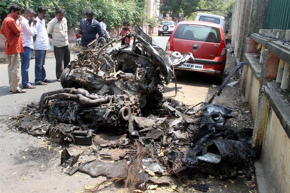 Remains of BMW car in which Ashwin Sundar
