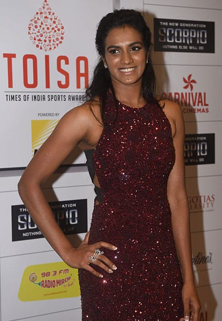 Olympian P V Sindhu during the Times of India Sports Awards