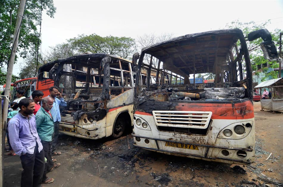 ASTC buses burnt in Assam