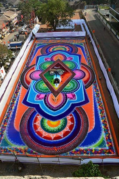 Huge Rangoli for Gudipadwa Festival