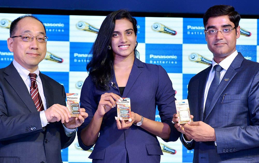 Shuttler PV Sindhu after she was announced as Panasonic Energys brand ambassdor