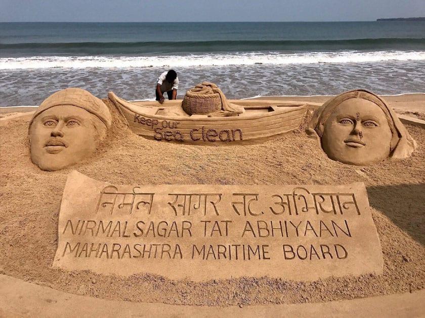 Sand artist Sudarsan Pattnaik creates sand art