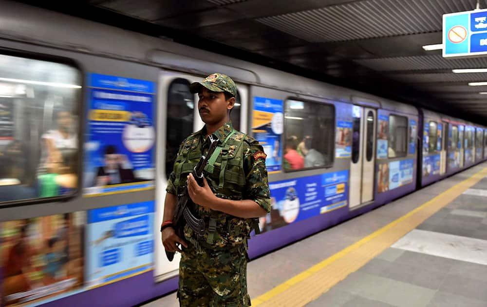 An RPF Commando team deployed to maintain security for Metro Railway in Kolkata