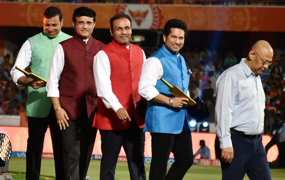 Sachin Tendulkar, Sourav Ganguly, Virender Sehwag and VVS Laxman after their felicitation at the opening ceremony of IPL