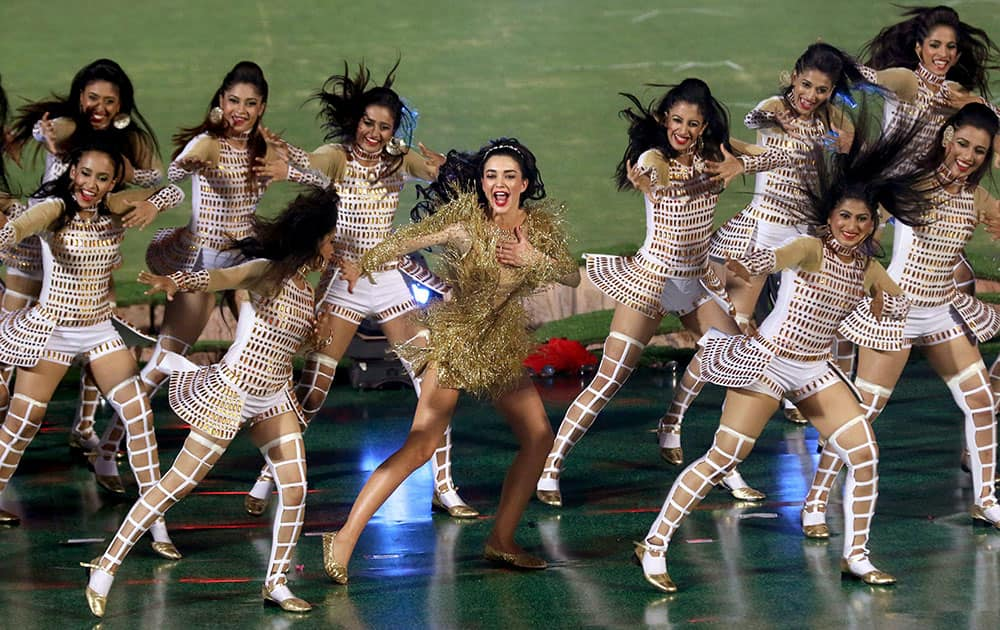Amy Jackson performs during the opening ceremony of IPL