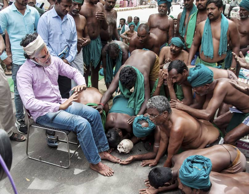 Tamil farmers protest