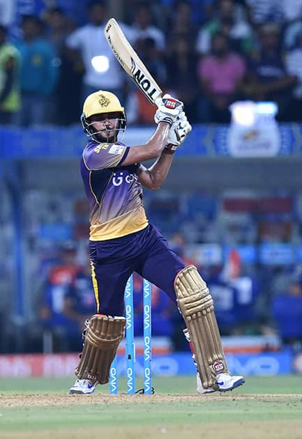 Manish Pandey plays a shot during the IPL match against Mumbai Indians