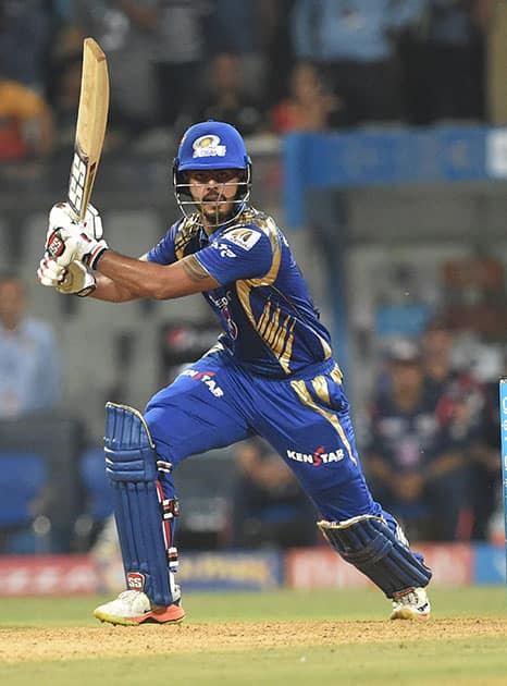 Nitish Rana plays a shot against Kolkata Knight Riders during the IPL match