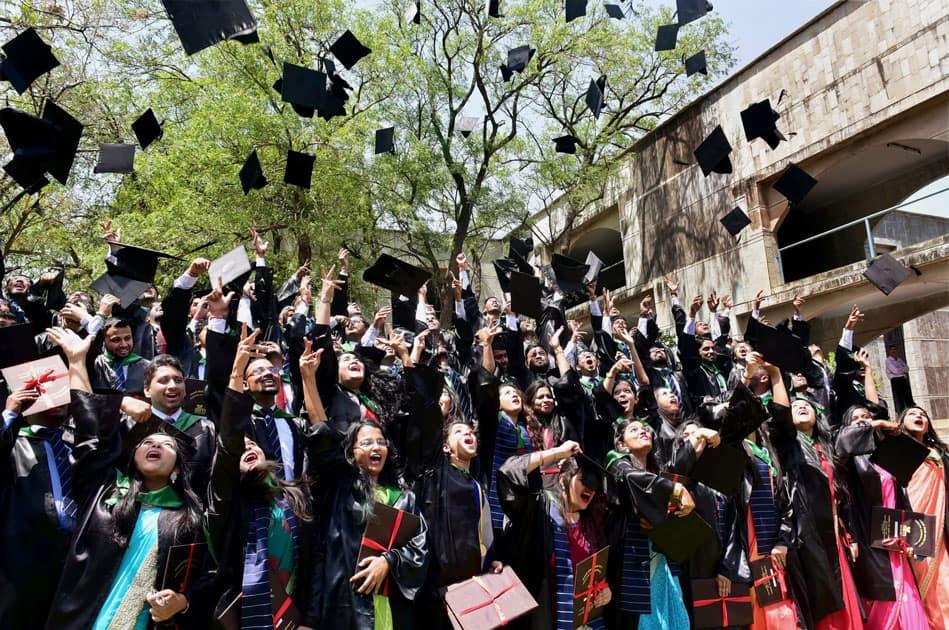 Students toss hats in Bhopal