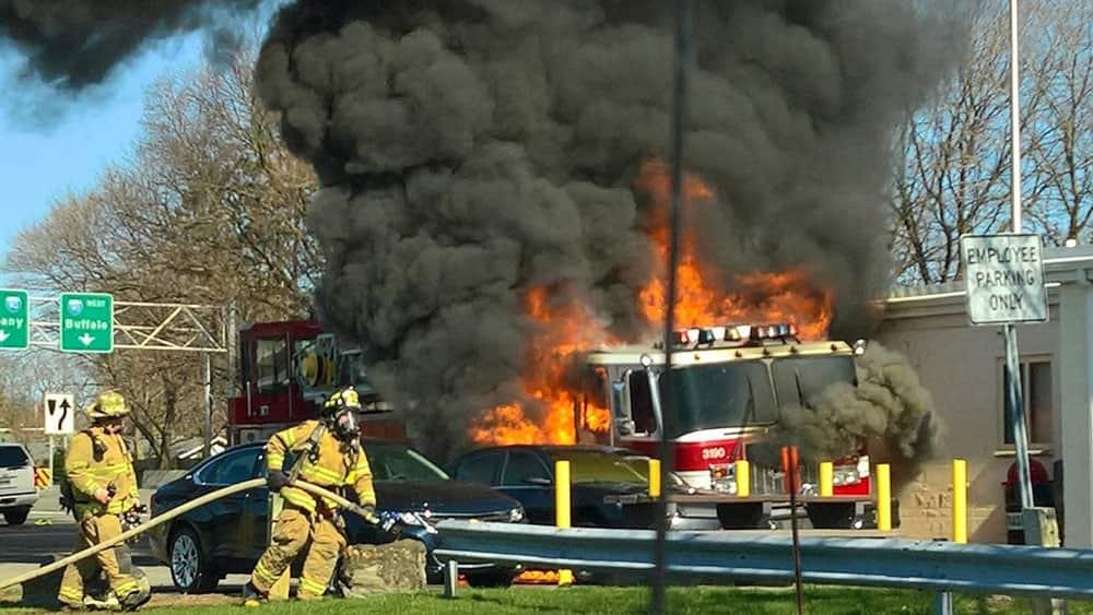 flames engulf a firetruck