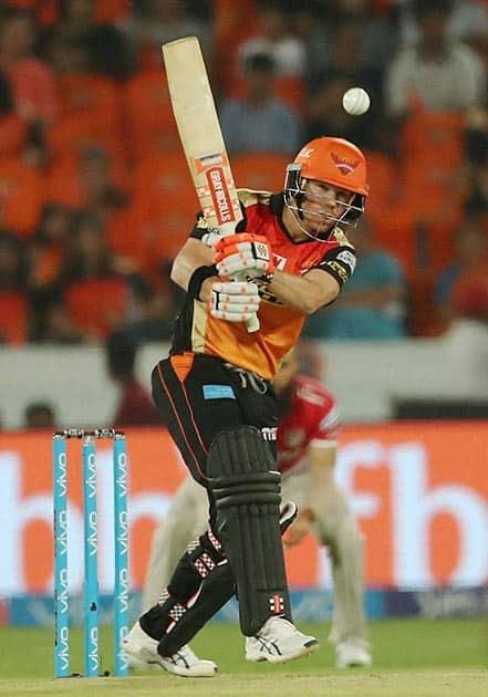 David Warner captain of Sunrisers Hyderabad plays a shot during an IPL 2017